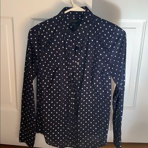 Navy and silver polka dot shirt